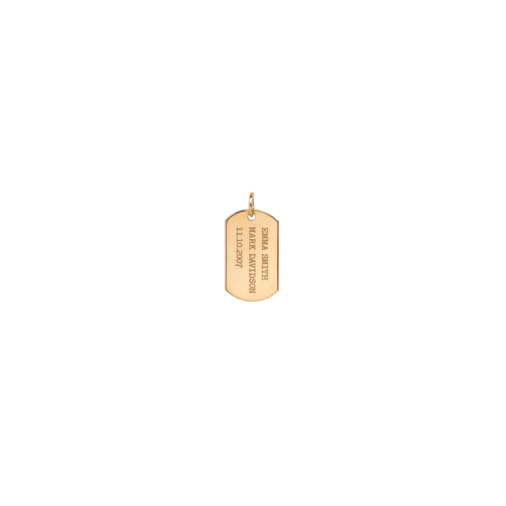 14k vertical text small dog tag charm
