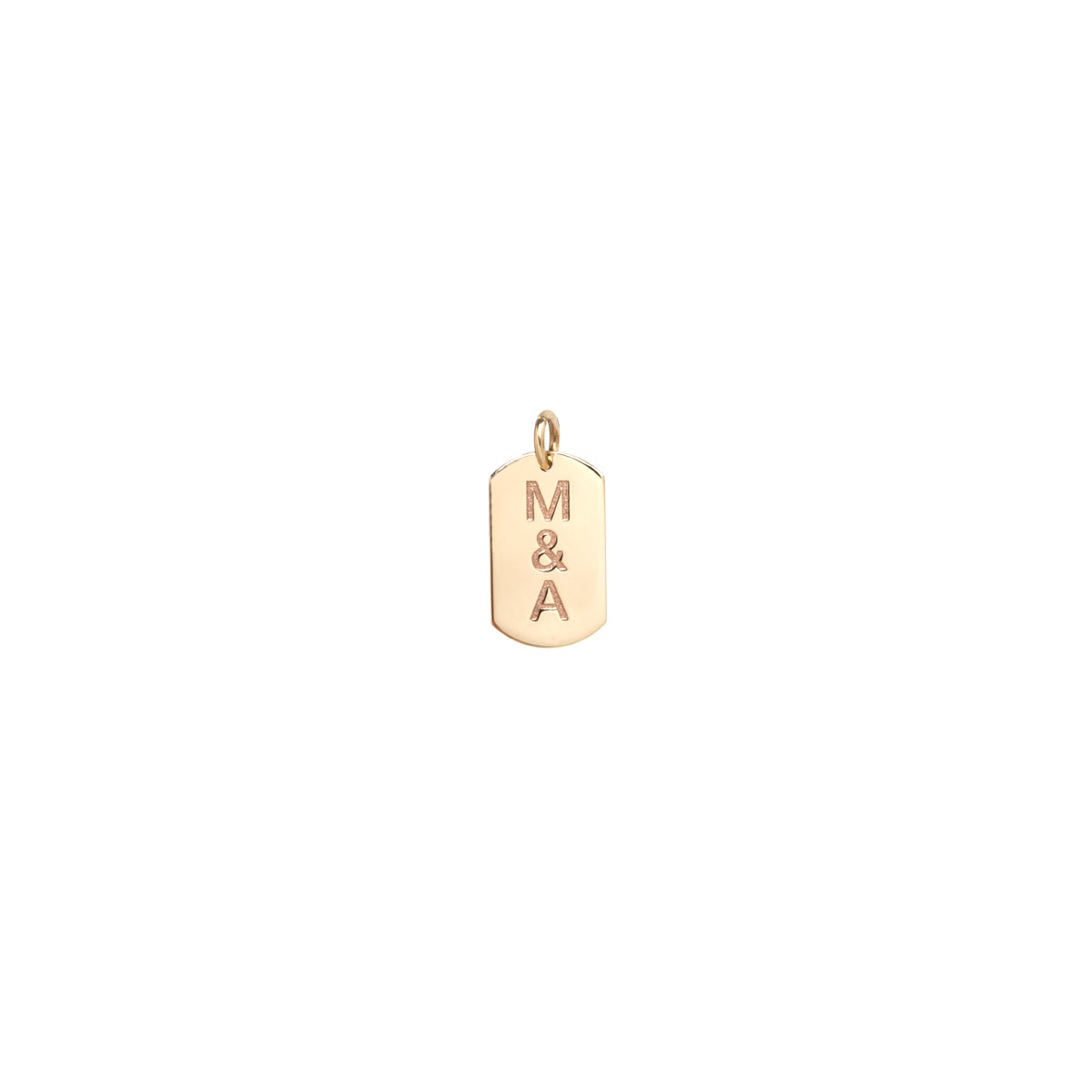 14k single small dog tag charm with engraved initials