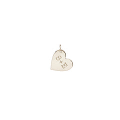 14k single medium heart charm pendant with initials engraved