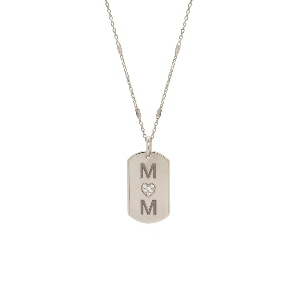 14k pave diamond heart & initial x-small dog tag necklace