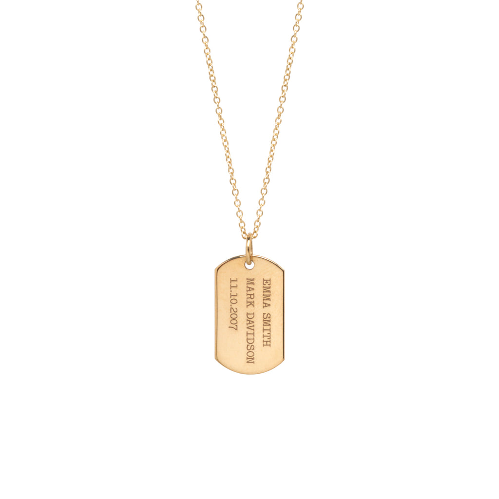 14k small engraved dog tag necklace
