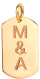 14k small dog tag charm with engraved initials