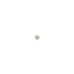 14k tiny initial disc stud