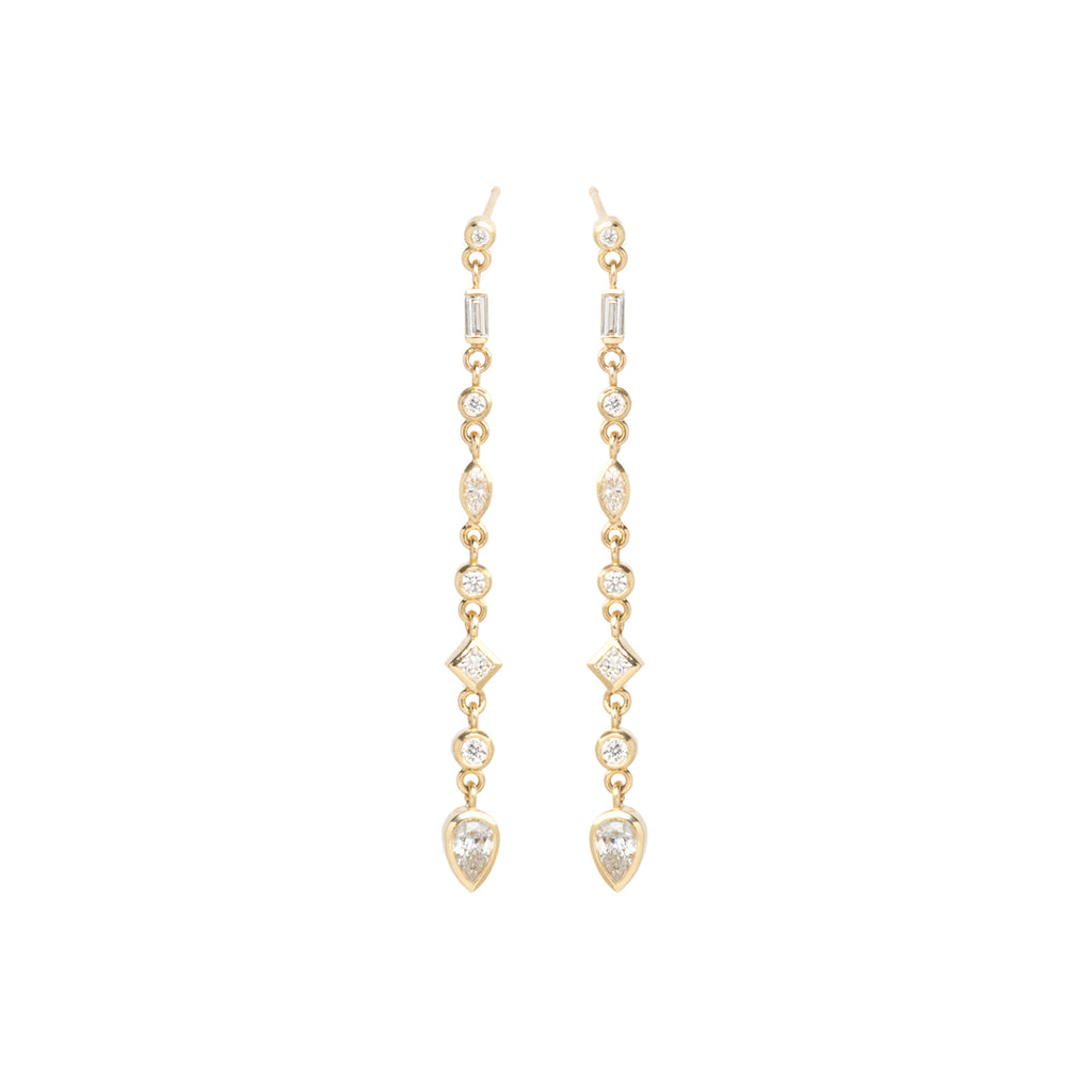 14k long linked earrings with mixed cut fancy diamonds
