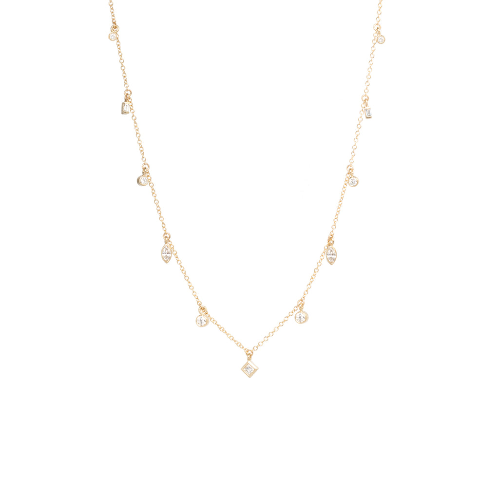 14k mixed diamond dangle necklace