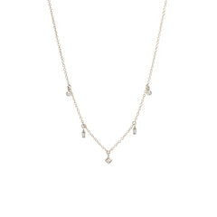 14k 5 mixed diamond dangle necklace