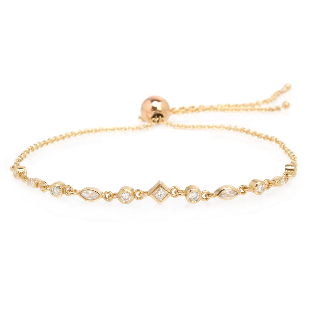 14k small mixed diamond linked bolo bracelet