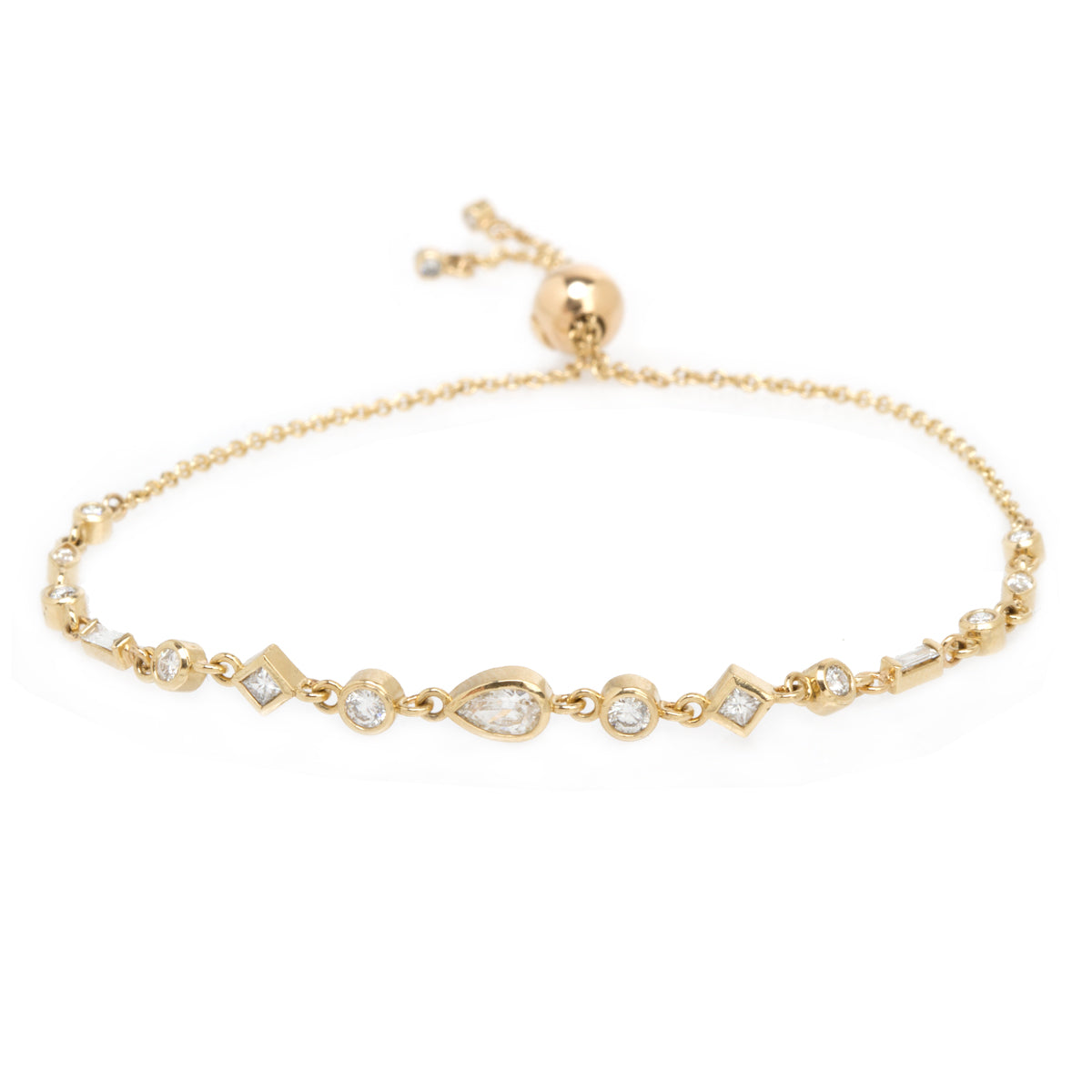 14k large mixed diamond linked bolo bracelet