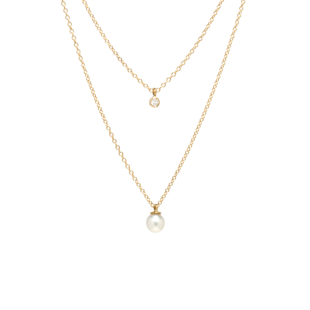 14k layered chain necklace with bezel diamond and dangling pearl