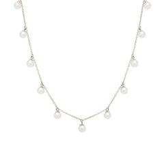 Zoë Chicco 14kt White Gold 11 Dangling White Pearl Choker Necklace