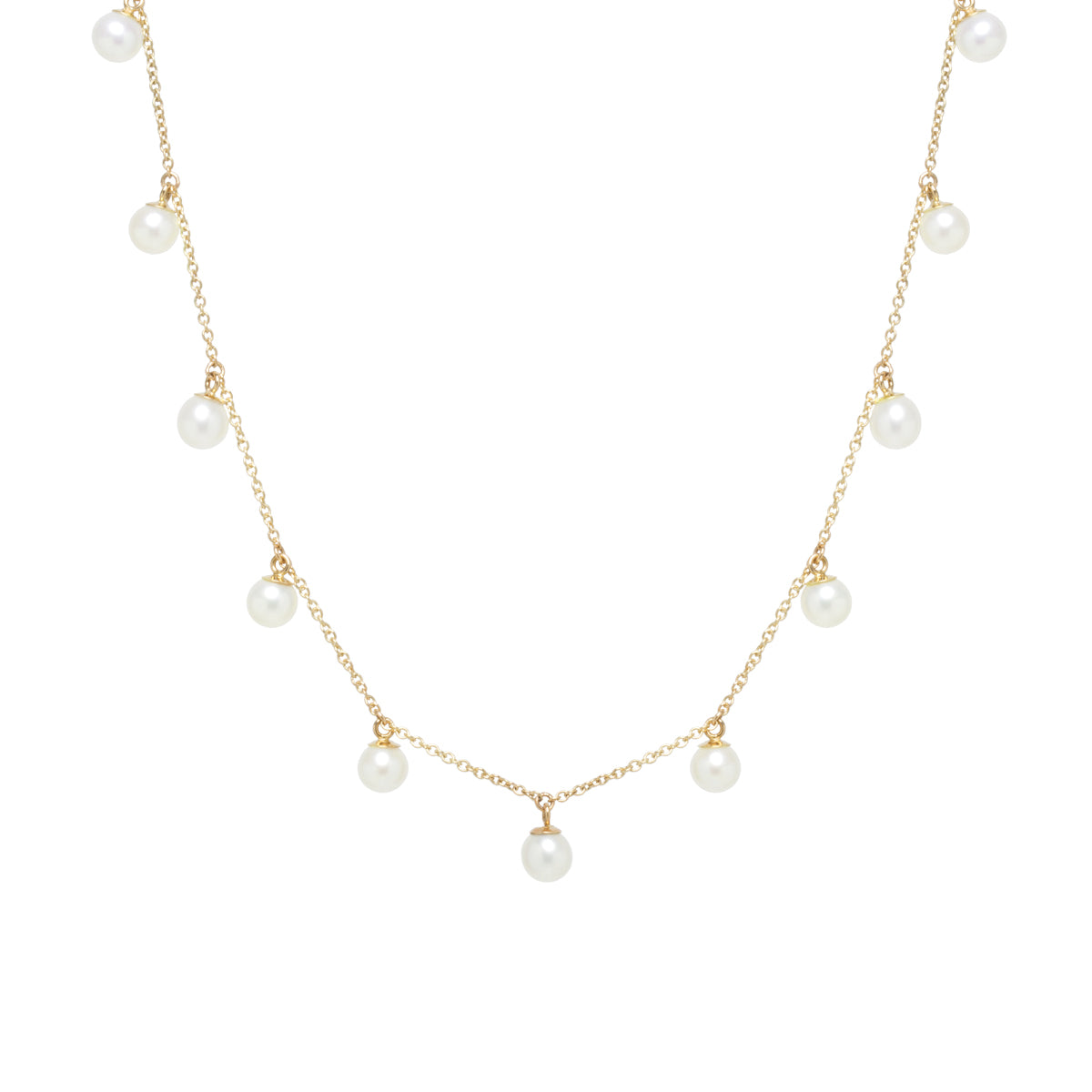 Zoë Chicco 14kt Yellow Gold 11 Dangling White Pearl Choker Necklace