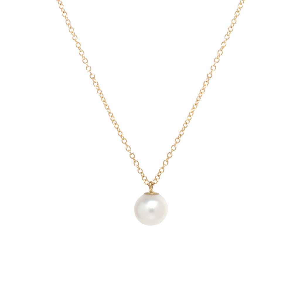 14k medium pearl long pendant necklace