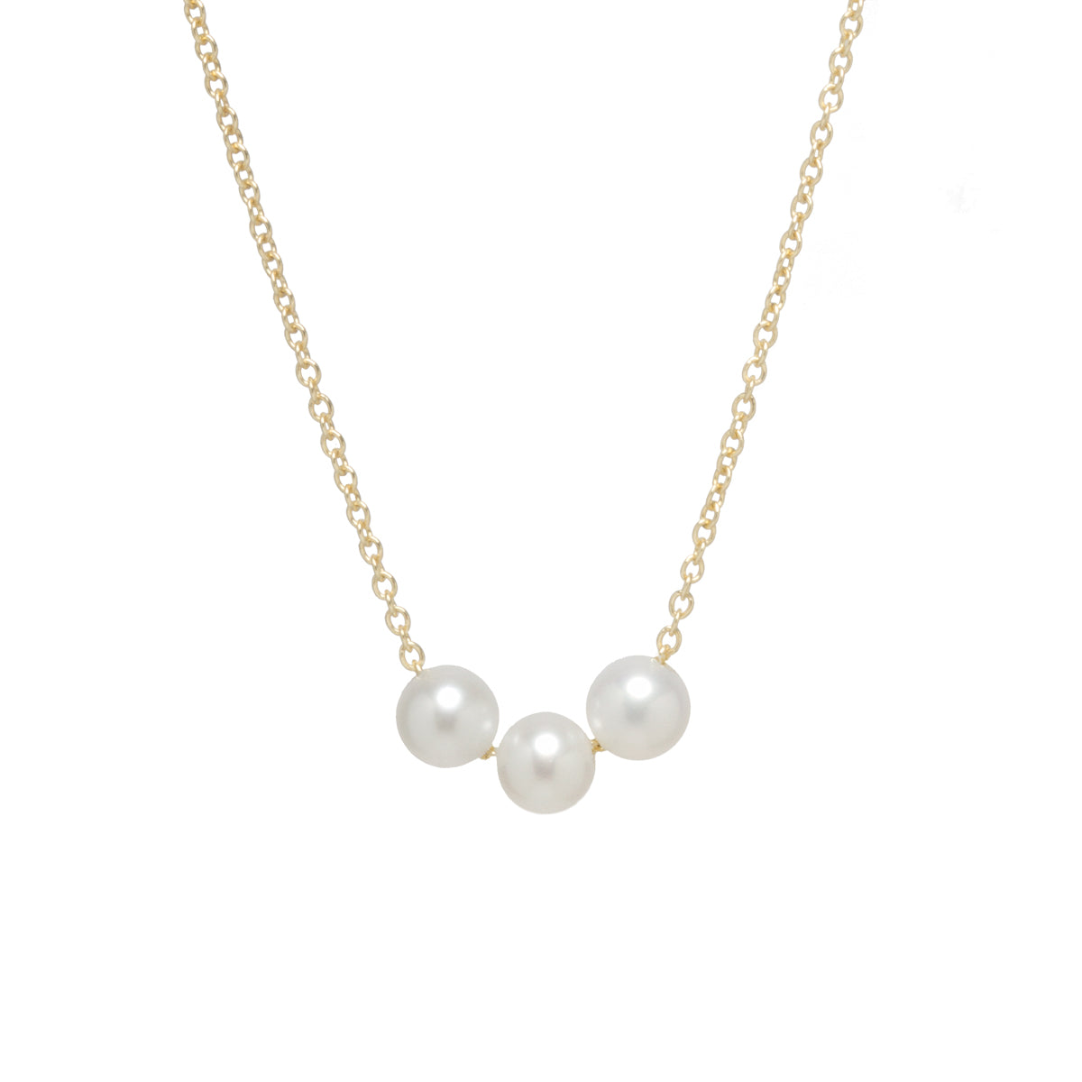 Zoë Chicco 14kt Yellow Gold 3 Small Pearl Necklace
