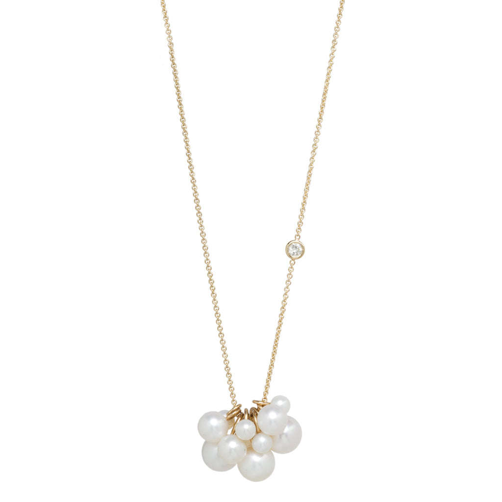 14k long clustered pearl and floating diamond necklace