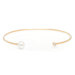 Zoë Chicco 14kt Yellow Gold Diamond and Pearl Open Cuff Bracelet