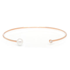 Zoë Chicco 14kt Rose Gold Diamond and Pearl Open Cuff Bracelet