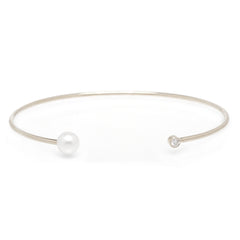 Zoë Chicco 14kt White Gold Diamond and Pearl Open Cuff Bracelet