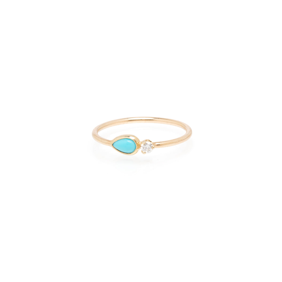 14k pear turquoise & diamond ring