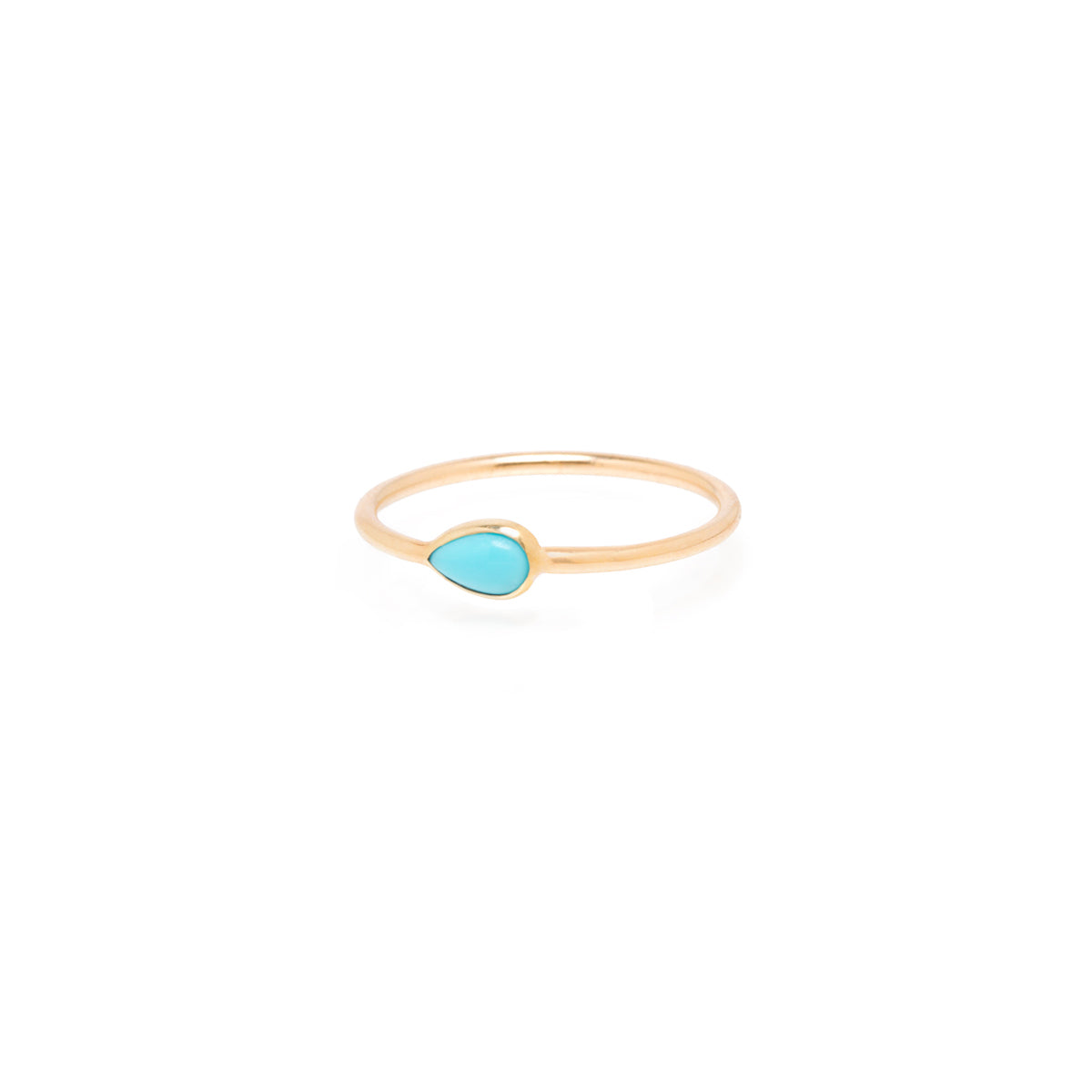 14k pear turquoise ring