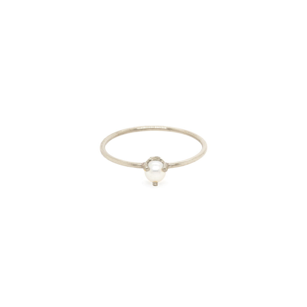 14k single pearl prong ring | JUNE BIRTHSTONE