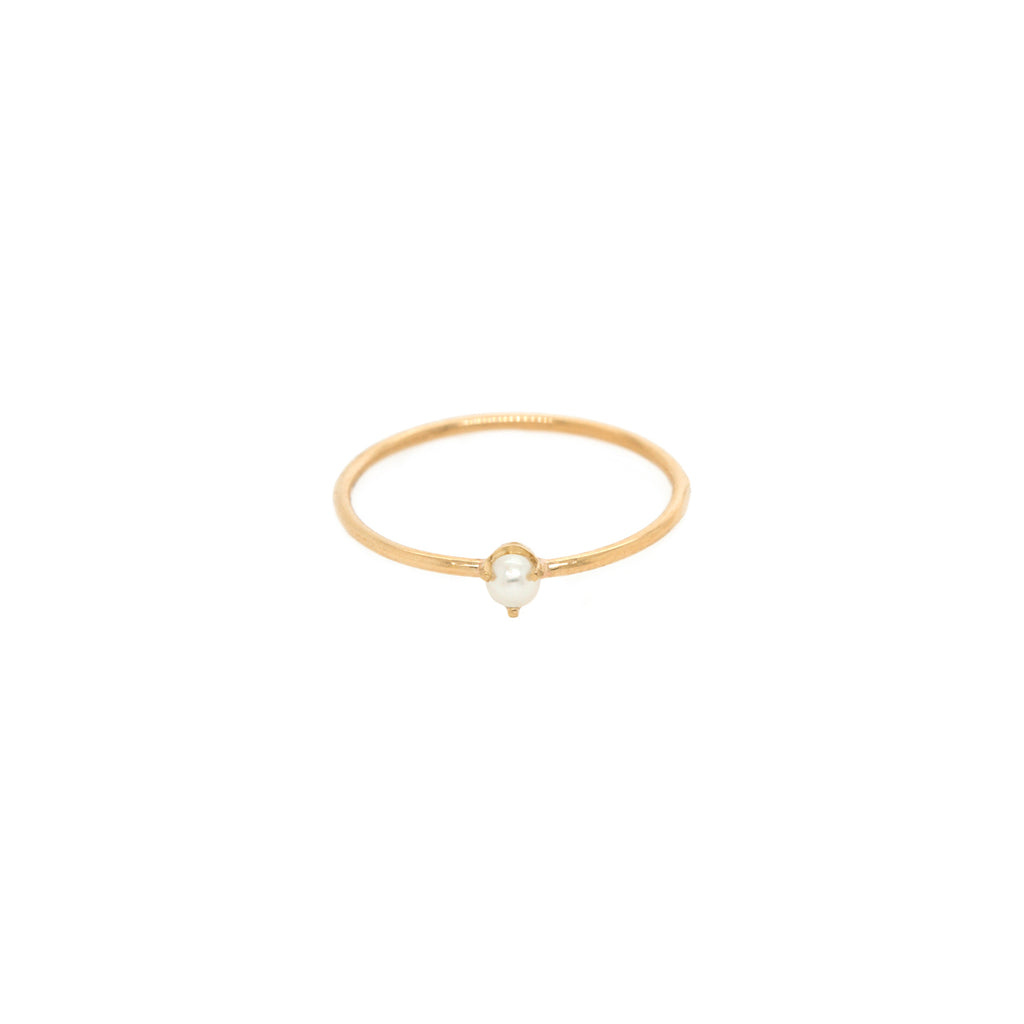 14k single tiny pearl prong ring