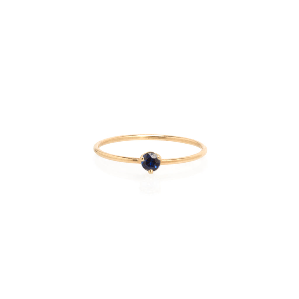 14k single sapphire prong ring