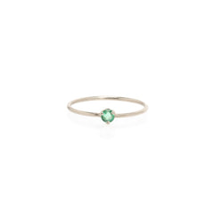 14k single emerald prong ring