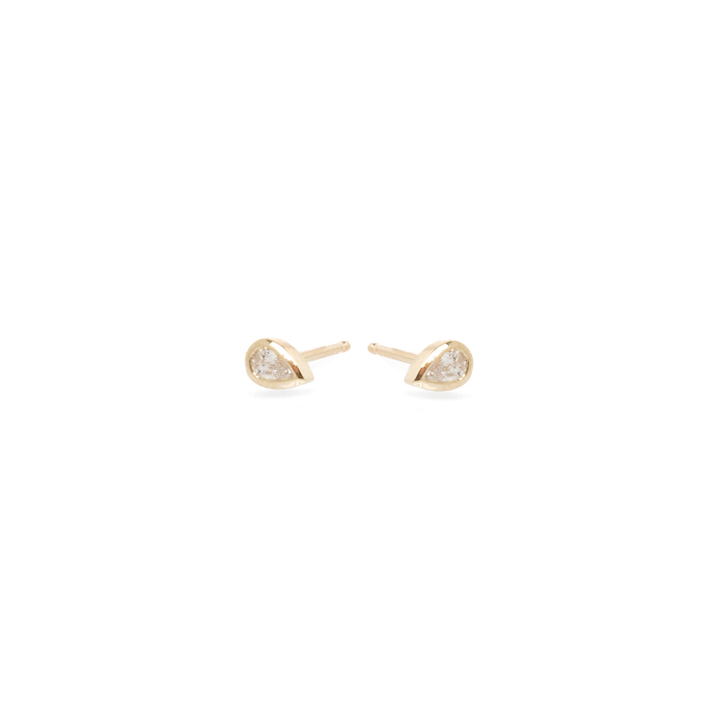 14k pear diamond studs