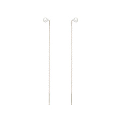 14k pearl stud long threaders