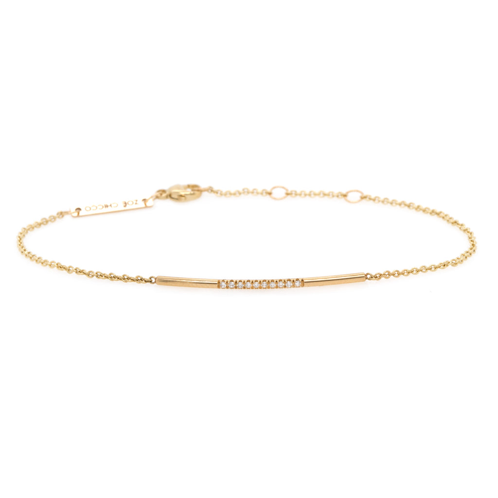 14k 10 pave diamond bar bracelet