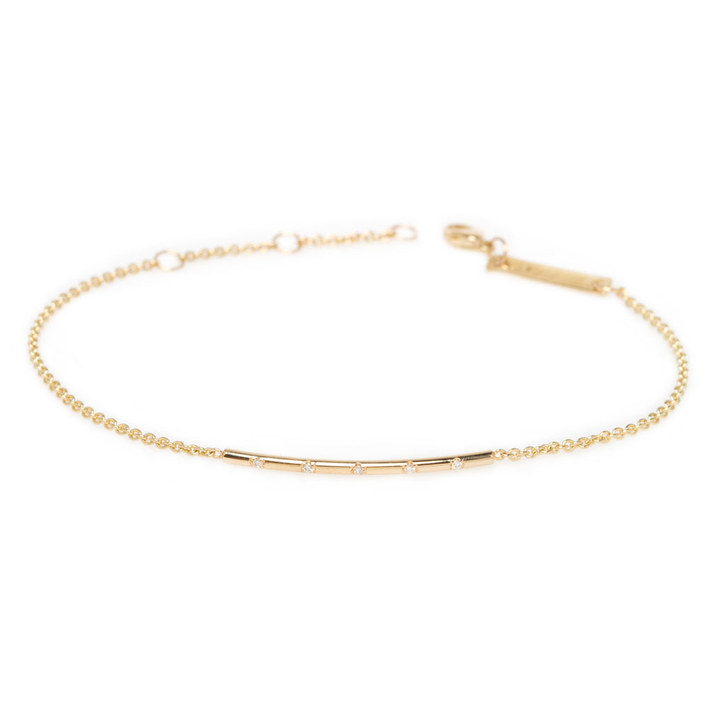 14k 5 spread out diamonds bar bracelet