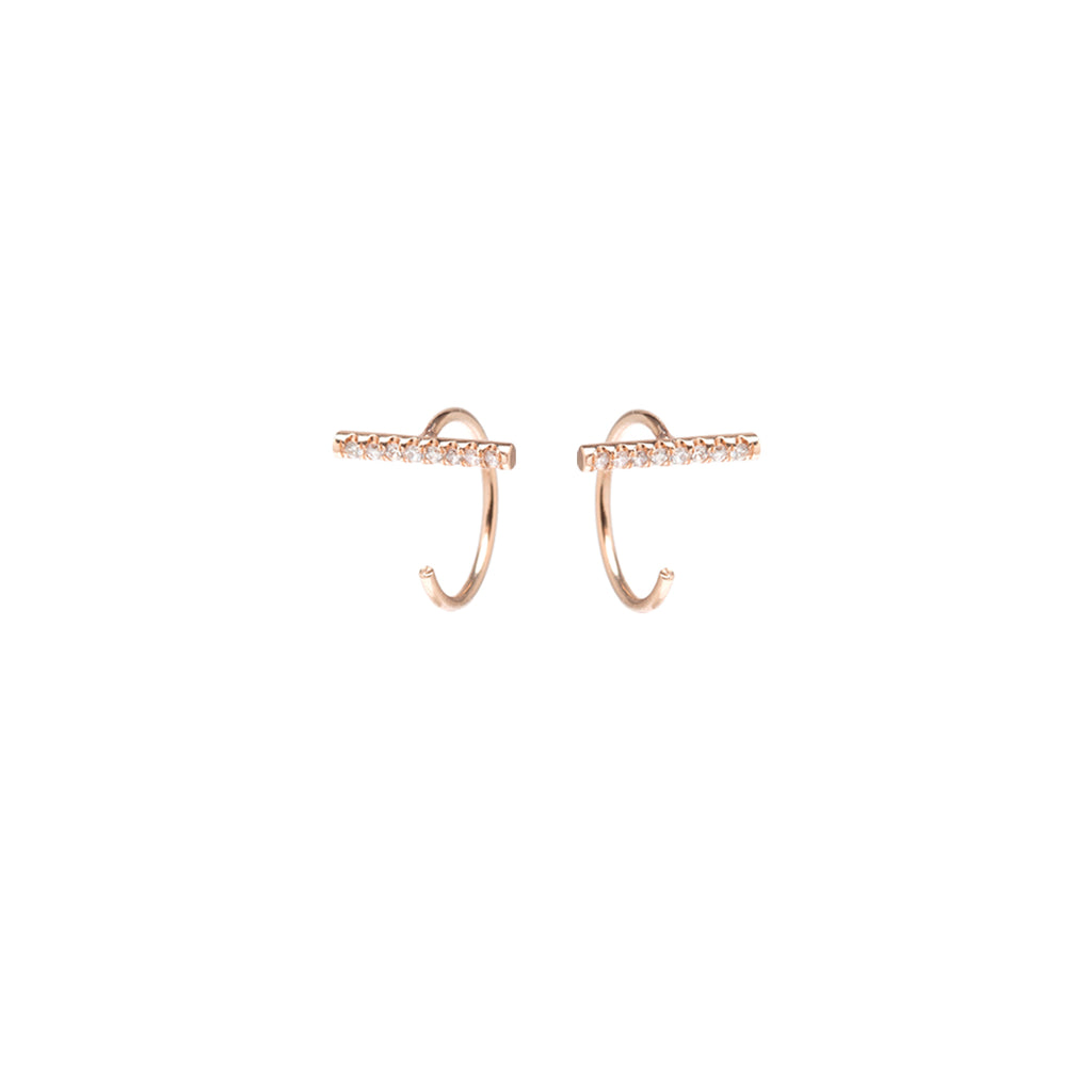 14k gold pave diamond bar tiny open hoop earrings