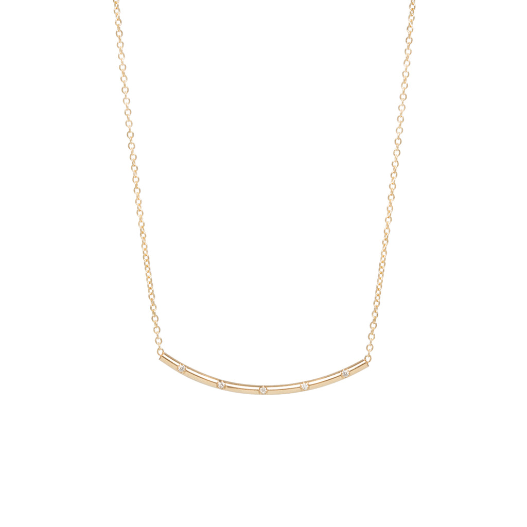 14k spread out french bead set diamond curved bar necklace