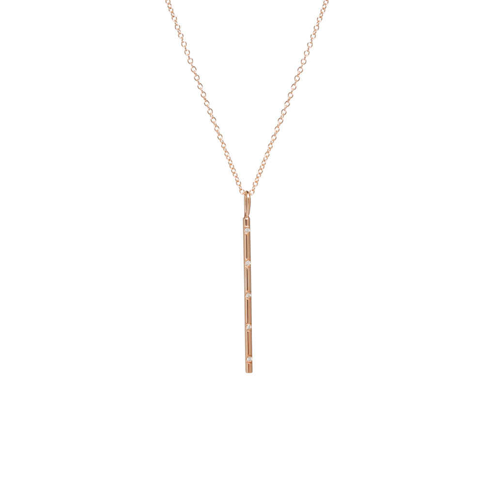 14k spread out french bead set diamond vertical bar pendant necklace