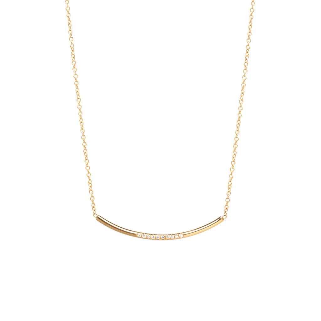 14k pave diamond curved bar necklace