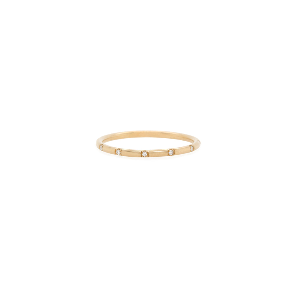 14k 12 Scattered White Diamond Pave Band Ring