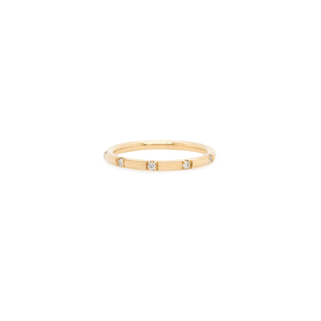 14k 10 scattered pave diamond band