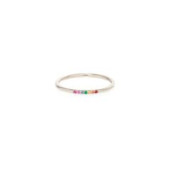 14k Thin 7 Pave Set Rainbow Sapphires Ring