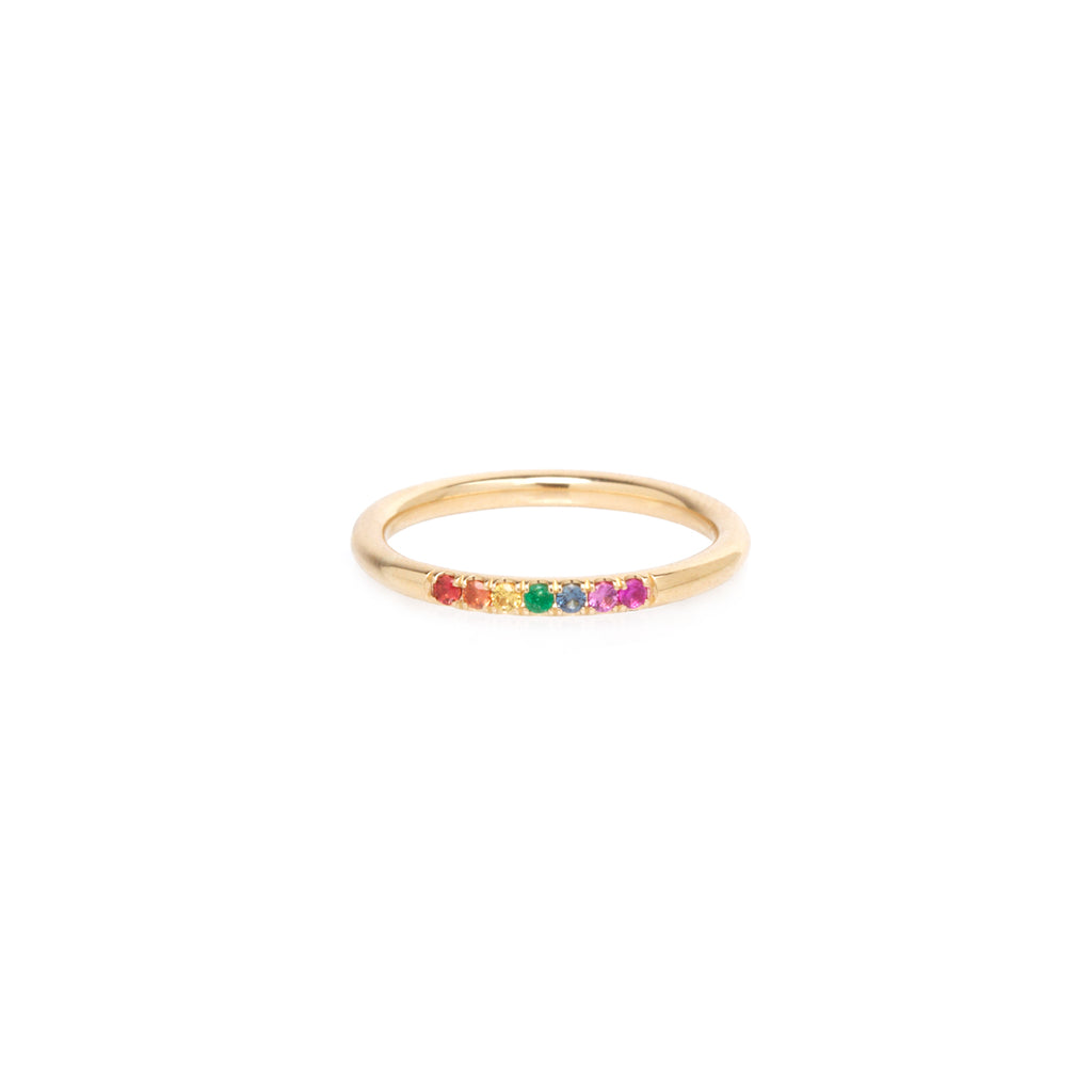 14k thick round band 7 rainbow sapphires ring