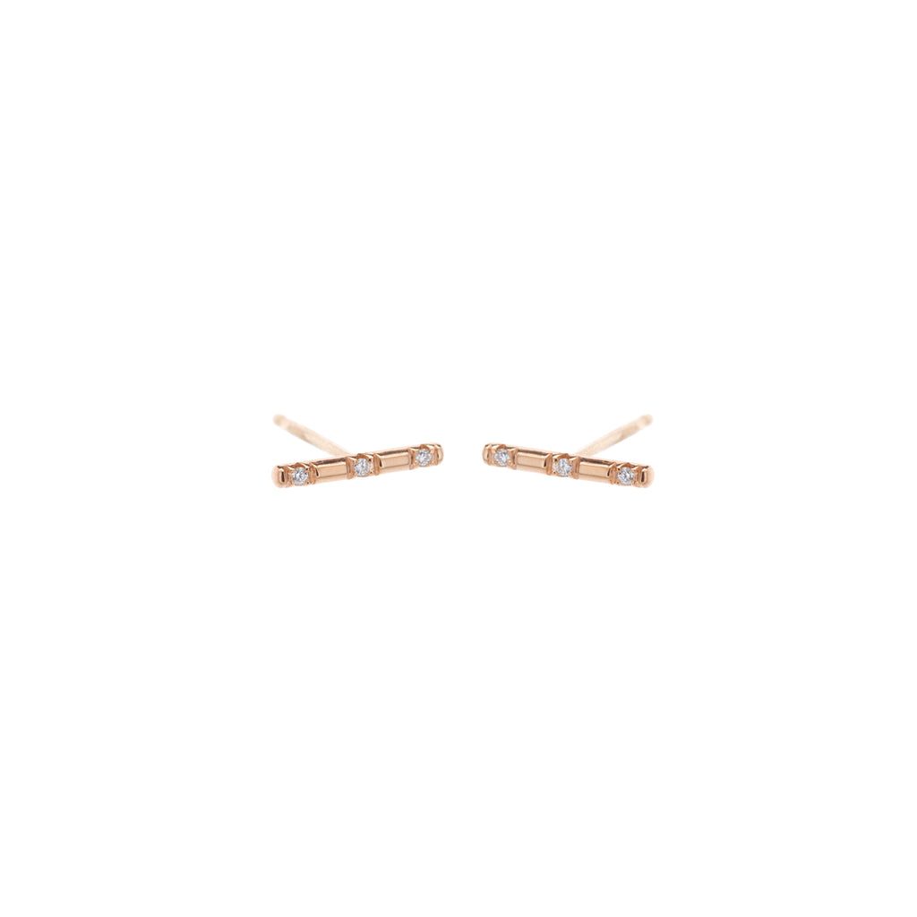 14k spread out pave white diamond bar studs