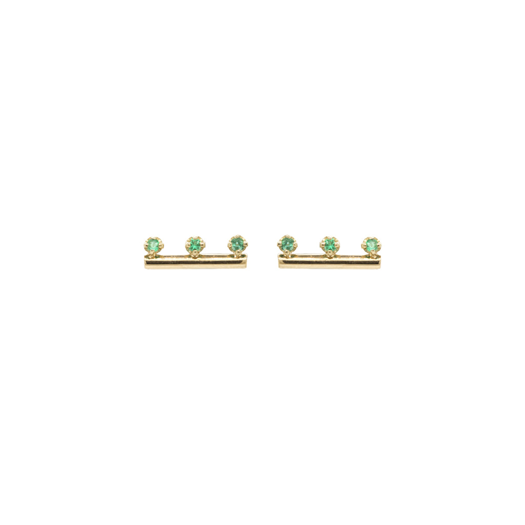14k gold round bar studs with 3 prong set emeralds