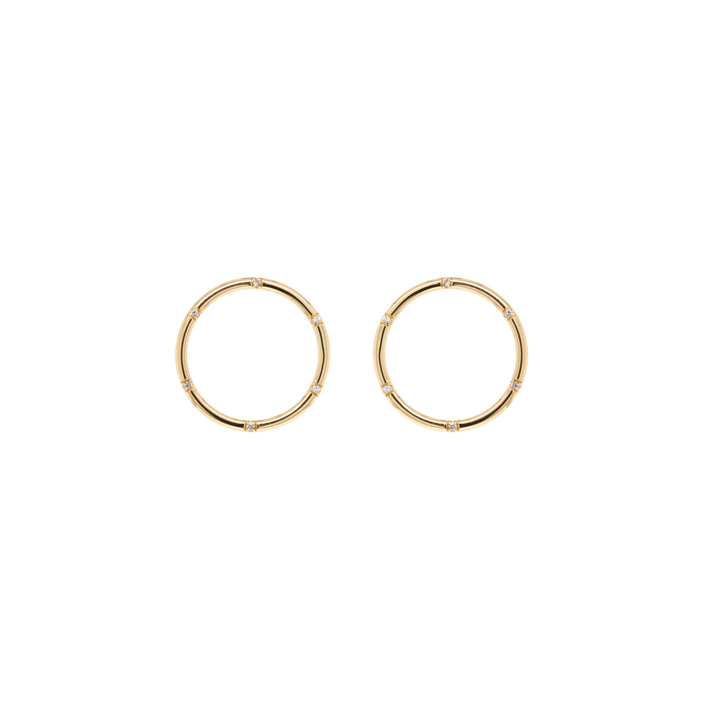 14k scattered diamond circle stud earrings