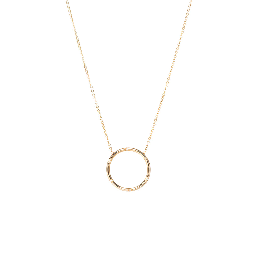 14k circle scattered diamond necklace