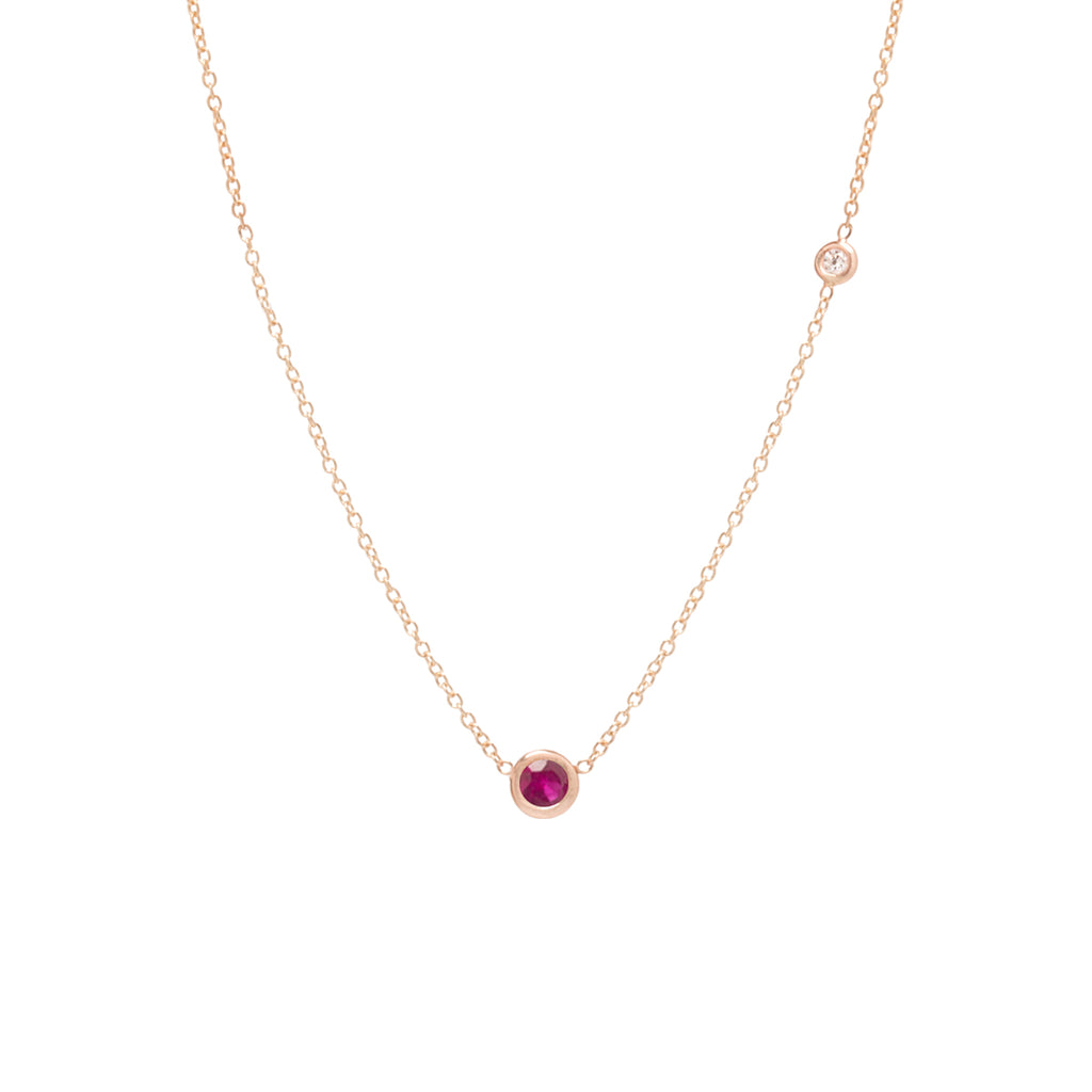 14k ruby and floating diamond choker necklace