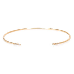 14k 10 french pave diamonds thin round wire cuff