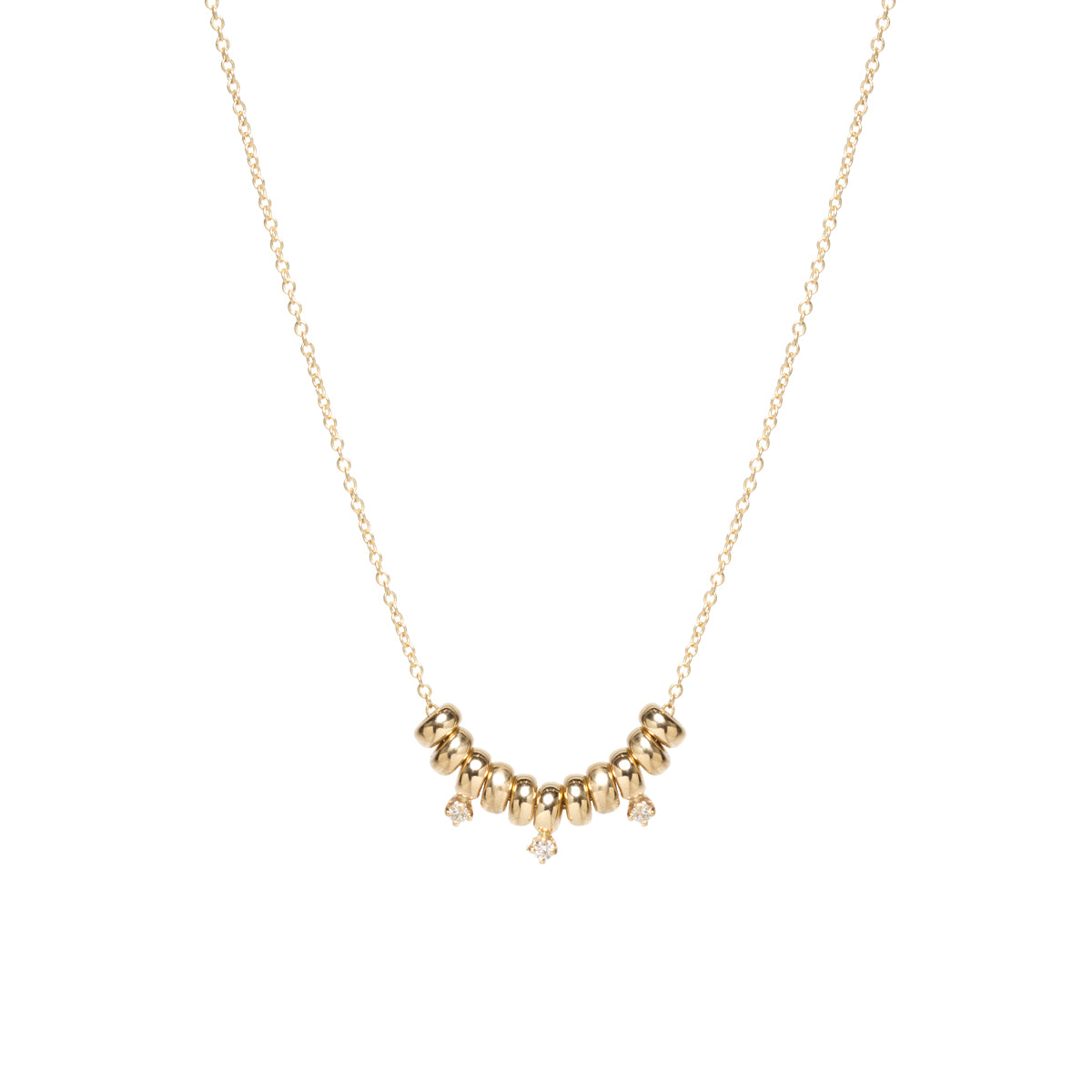 14k small rondelle and prong diamond necklace