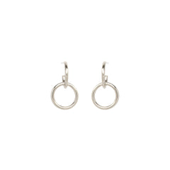 14k thick huggie hoop with round single link earrings