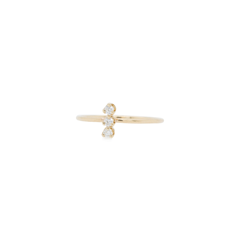 14k prong diamond vertical bar ring