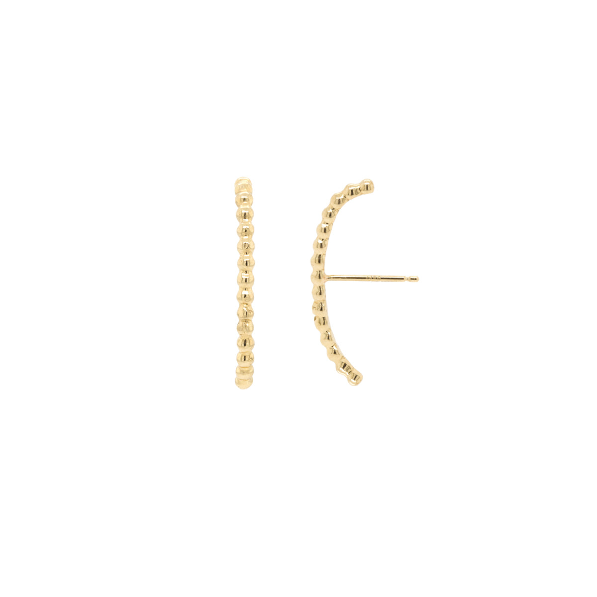 14k gold bead curved bar cuff stud