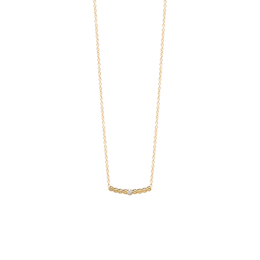 14k tiny bead short curved bar necklace with diamond